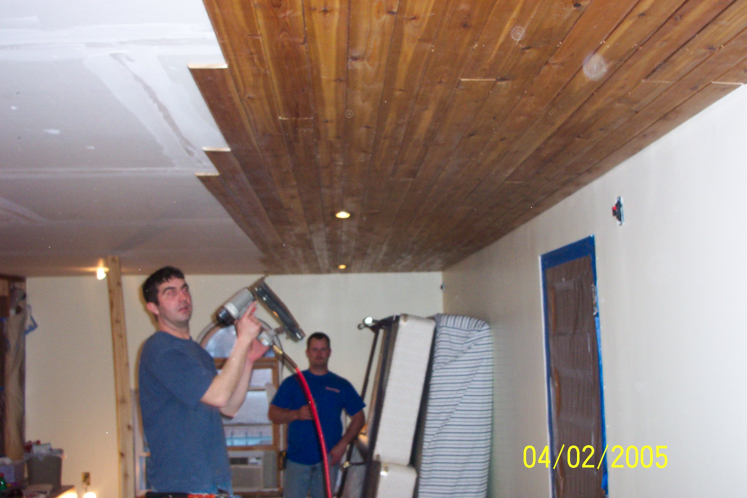 Perfect Dave U Kyle Doing Much Of The Work With Cedar Ceiling.